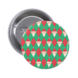 Argyle Santa Pattern Pinback Button