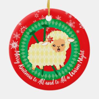 Argyle sheep knitting needles Christmas ornament