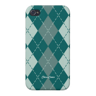 Argyle Teal Gray Pattern Savvy iPhone 4/4S Case