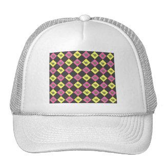 Argyle turtle pattern on black trucker hat