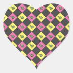 Argyle turtle pattern on black heart sticker