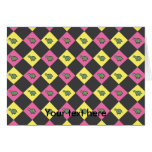 Argyle turtle pattern on black note card