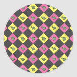Argyle turtle pattern on black round sticker