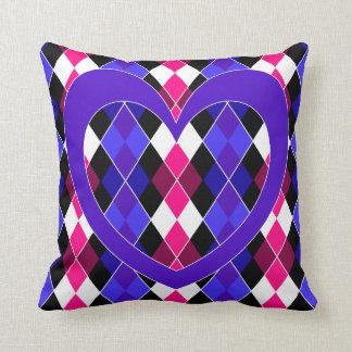 Argyle with purple heart cushion