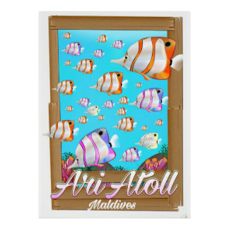 Ari Atoll Maldives travel poster