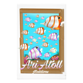 Ari Atoll Maldives travel poster Custom Stationery