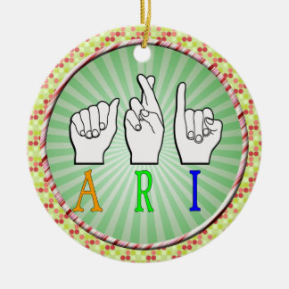 ARI FINGERSPELLED ASL NAME SIGN DEAF CERAMIC ORNAMENT
