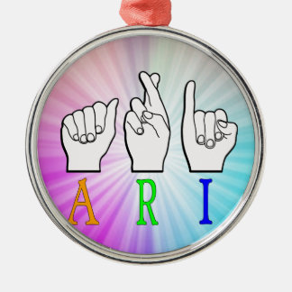 ARI FINGERSPELLED ASL NAME SIGN DEAF METAL ORNAMENT