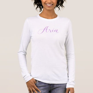 Aria - Modern Calligraphy Name Design Long Sleeve T-Shirt