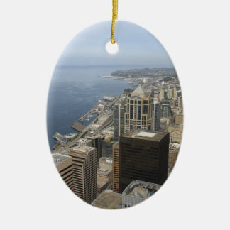 Arial View of Seattle Ceramic Ornament