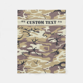 Arid Brown Camo w/ Custom Text Fleece Blanket