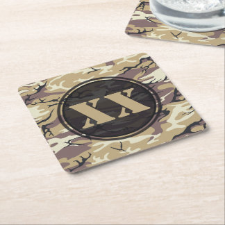 Arid Brown Camouflage Coaster w/ Text