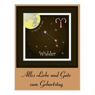 Aries 21. March until 20 April postcard