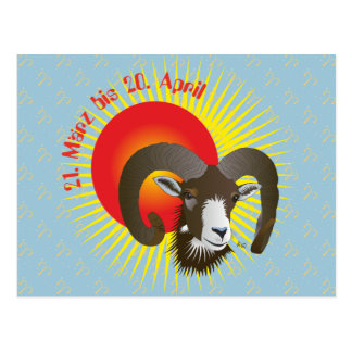 Aries 21. March until 20 April postcard
