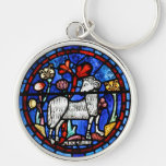 Aries 6 Astrology - Gothic Stained Glass Windows - Silver-Colored Round Key Ring