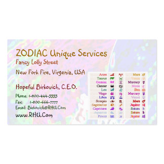 ARIES + all Zodiac Symbols on back Business Card Templates
