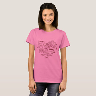 Aries Astrology Traits Word Heart Pink T-Shirt