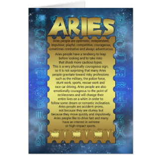 Aries Birthday Card - Zodiac Birthday Card - Aries