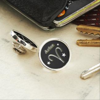 Aries chrome symbol lapel pin