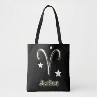 Aries chrome symbol tote bag