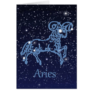 Aries Constellation and Zodiac Sign with Stars Card