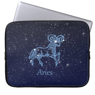 Aries Constellation and Zodiac Sign with Stars Laptop Sleeve