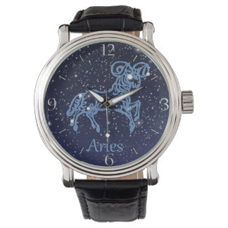 Aries Constellation and Zodiac Sign with Stars Wrist Watch