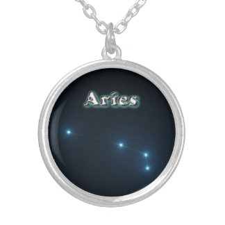 Aries constellation silver plated necklace