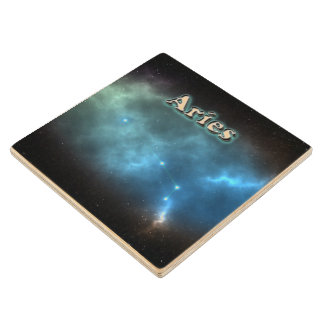 Aries constellation wood coaster
