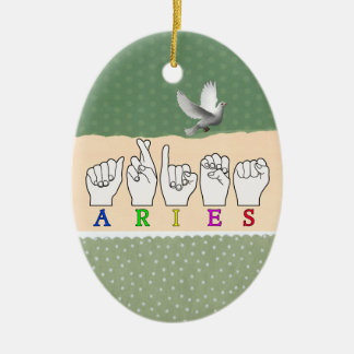 ARIES FINGERSPELLED ASL ZODIAC NAME SIGN CERAMIC ORNAMENT