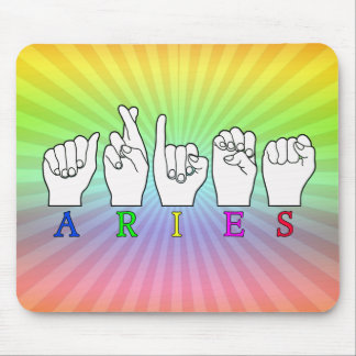 ARIES FINGERSPELLED ASL ZODIAC NAME SIGN MOUSE PAD