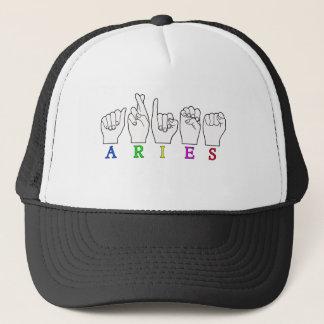 ARIES FINGERSPELLED ASL ZODIAC NAME SIGN TRUCKER HAT