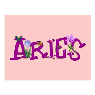 Aries Flowers Postcard