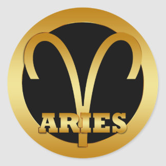 ARIES GOLD ZODIAC SIGN ROUND STICKER