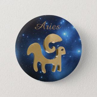 Aries golden sign 6 cm round badge