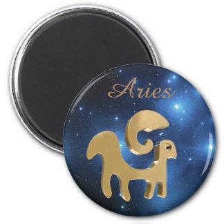 Aries golden sign 6 cm round magnet