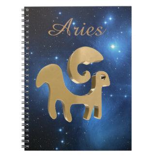 Aries golden sign notebooks