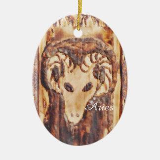 Aries Greek Zodiac Primitive Astrology Ceramic Oval Decoration
