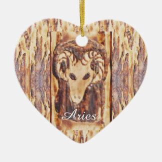 Aries Greek Zodiac Primitive Astrology Double-Sided Heart Ceramic Christmas Ornament