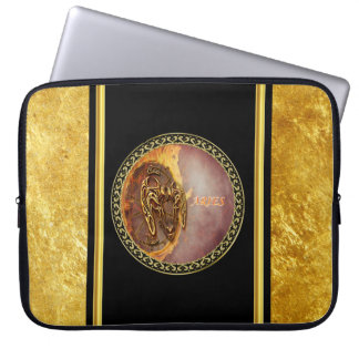 Aries Horoscope with gold foil texture with black Laptop Sleeve