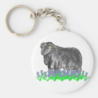 Aries Ram And Bluebells Art Keyring