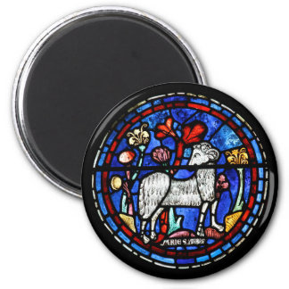 Aries Ram Year - Gothic Stained Glass Windows - Refrigerator Magnet