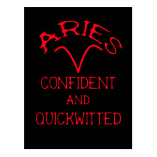 Aries (Red Text) Postcard