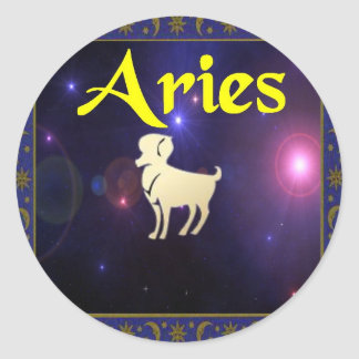 Aries Round Sticker