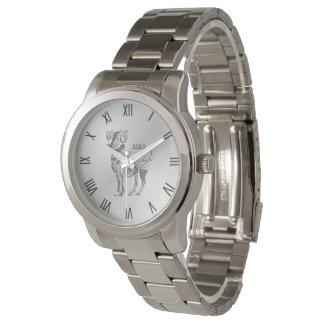 Aries the Ram Zodiac Silver Roman Numerals Watch