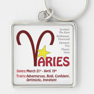 Aries Traits Square Silver-Colored Square Key Ring