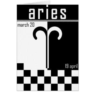 Aries zodiac 2 tone card, with keywords. greeting card