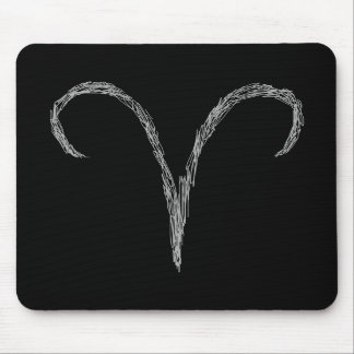 Aries. Zodiac Astrology Sign. Black. Mouse Pad