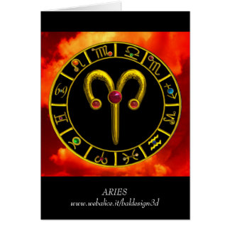 ARIES ZODIAC BIRTHDAY JEWEL CARD