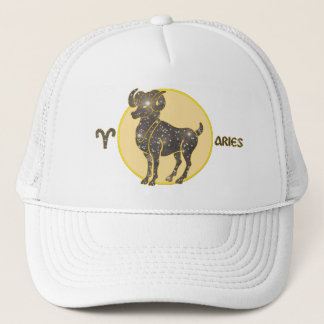 Aries Zodiac Diamond Designer Modern Trucker Hat